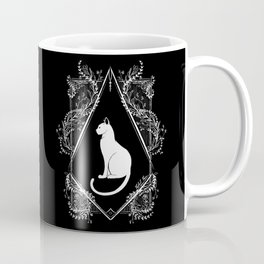 White Cat Floral Coffee Mug