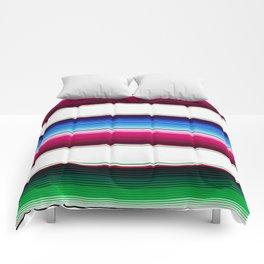 Traditional Mexican Serape in White Multi Comforters