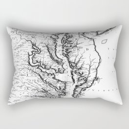 Vintage Map of The Chesapeake Bay (1719) BW Rectangular Pillow