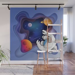 3D Paper Art Astronaut in Space Wall Mural