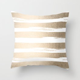 White Gold Sands Painted Thick Stripes Throw Pillow