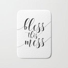 Printable - Bless This Mess - Dorm Decor - Mom Print - Calligraphy Print Bath Mat
