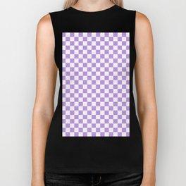 Small Checkered - White and Light Violet Biker Tank