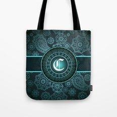 Teal Monogrammed C Tote Bag