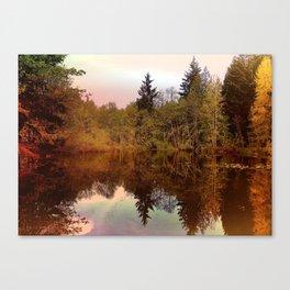 Mirror Pond, Perfect Stillness At Sunset Canvas Print