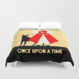 Little Red Riding Hood And The Big Bad Wolf - Classic Fairy Tale Poster Duvet Cover