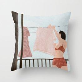 Hanging Clothes Throw Pillow