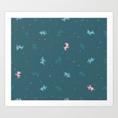 Reindeer Frolic (tiling pattern) Art Print