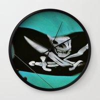 "pirate ship Wall Clocks featuring ""Pirate Ship"" by Bella Blue Photography"
