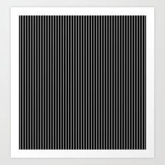 Black, white, striped, stroke Art Print