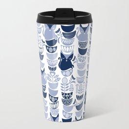 Swedish folk cats III // white background pale and navy blue kitties & bowls Travel Mug