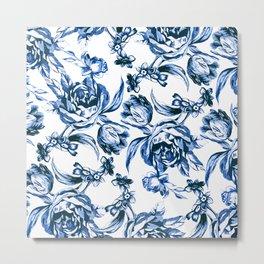Bleu Fleurs Metal Print