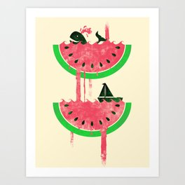Watermelon falls Final Art Print