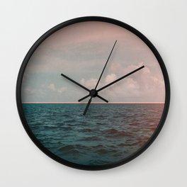 Turquoise Ocean Peach Sunset Wall Clock