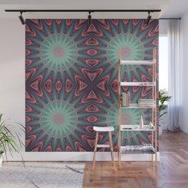 Mauve & teal starburst Mandala Wall Mural