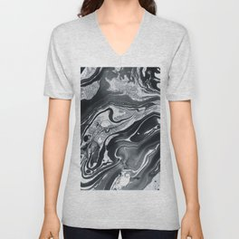 Marble in Black Ink Unisex V-Neck