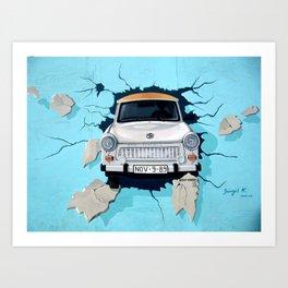 Taxi Breaking The Wall Art Print