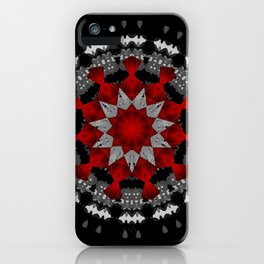 Bright Red Silver Star Flower Mandala iPhone Case