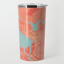 Seattle, Washington City Map, Colorful Travel Mug