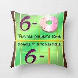 Tennis Players Bagels & Breadsticks  Throw Pillow
