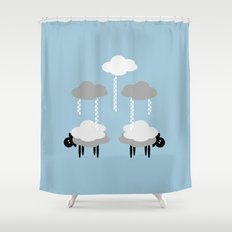 Wooly weather - Sheep Rain Clouds Shower Curtain