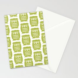 Mid Century Owl Pattern Chartreuse Stationery Cards