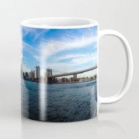 new york skyline Mugs featuring New York Skyline - Color by Nicklas Gustafsson