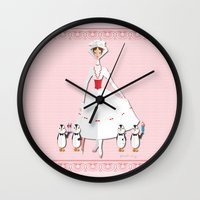 mary poppins Wall Clocks featuring Mary Poppins by AmadeuxArt