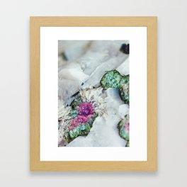 Colorful watermelon tourmaline crystal, macro #society6 Framed Art Print