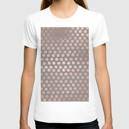 Simple Hand Painted Rosegold polkadots on gray background T-shirt