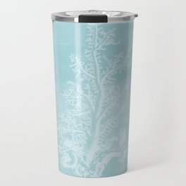 White Coral on Pale Blue Travel Mug