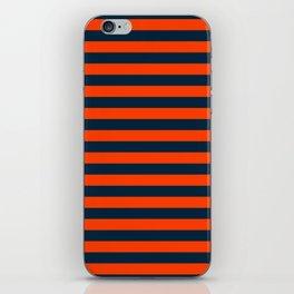 Orange Pop & Navy Blue Tent Stripe iPhone Skin