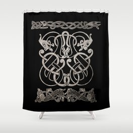 Old norse design - Two Jellinge-style entwined beasts originally carved on a rune stone in Gotland. Shower Curtain