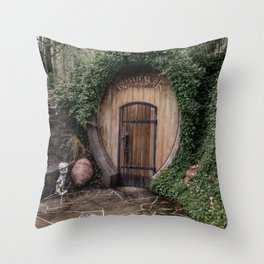 Entrance to one of the wine-cellar caves at the Rombauer winery in Californias Napa Valley Throw Pillow