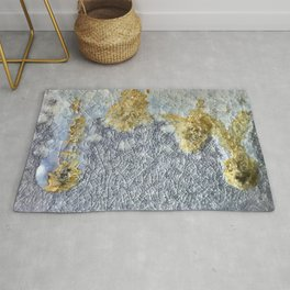 The Snow Melts in Gold Droplets Rug