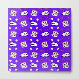 Cute funny Kawaii chibi little playful baby panda bears, happy cheerful sushi with shrimp on top, rice balls and chopsticks plum purple pattern design. Nursery decor. Metal Print