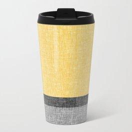 Yellow Grey and Black Section Stripe and Graphic Burlap Print Metal Travel Mug