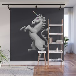 Pixel White Unicorn Wall Mural