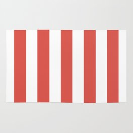 Lychee red - solid color - white vertical lines pattern Rug