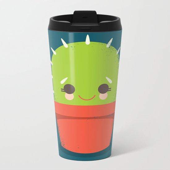 Kawaii Cactus Dude Metal Travel Mug
