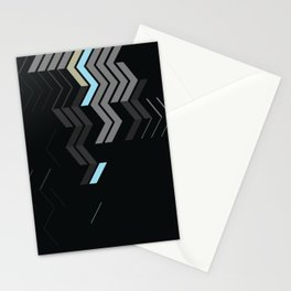 Deconstructed Chevron C – Gray / Gold / Blue Abstract Pattern Stationery Cards
