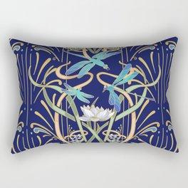 Art Nouveau Dragonflies   Navy Rectangular Pillow