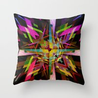 comic Throw Pillows featuring Comic Rabbits by Robotic Ewe