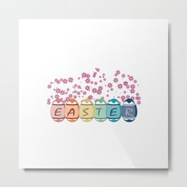Easter word on eggs Metal Print