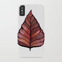 decal iPhone & iPod Cases featuring Modern leaf art | green leaves wall decal | botanical leaf decor | botanical leaves | leaf & plant by WestridgeART