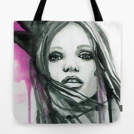 Watercolour Fashion Illustration Portrait Abbey Lee Tote Bag