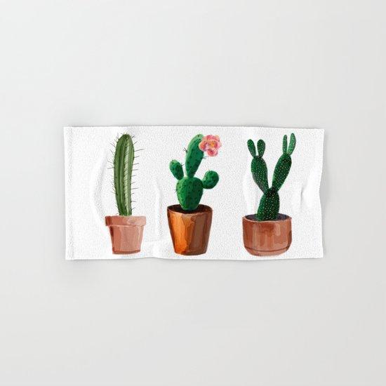 Three Cacti On White Background Hand & Bath Towel