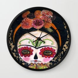 Frida The Catrina - Dia De Los Muertos Painted Skull Mixed Media Art Wall Clock