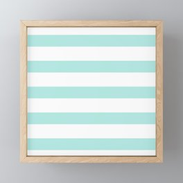Aqua blue and White stripes lines - horizontal Framed Mini Art Print