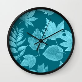 Fall leaves in peacock blue Wall Clock